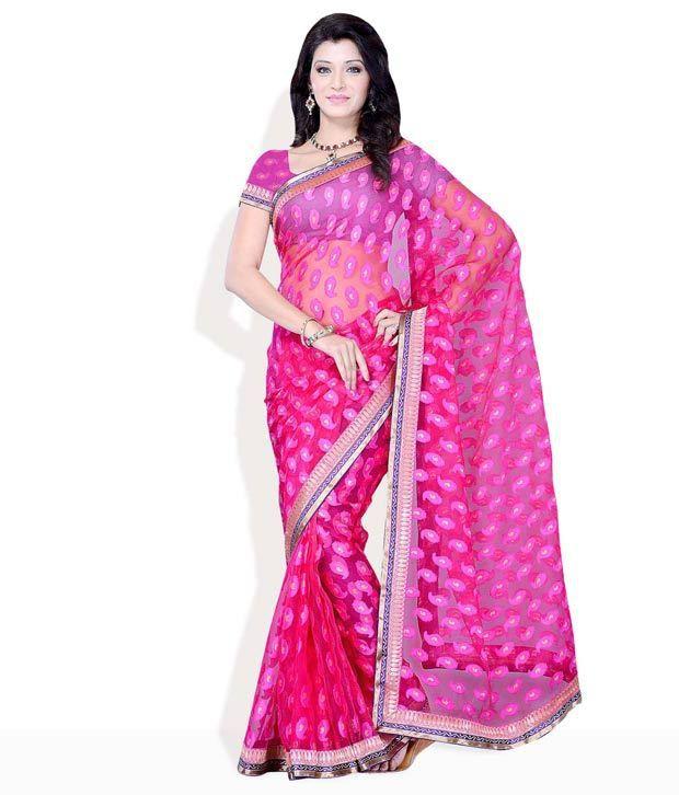 Diva Fashion Pink Exquisite Brasso Texture Saree