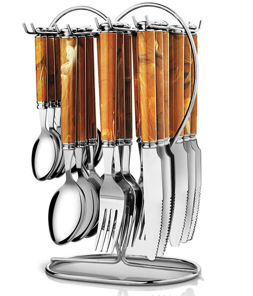 Pogo Galaxy Brown Stainless Steel Cutlery Set With Stand