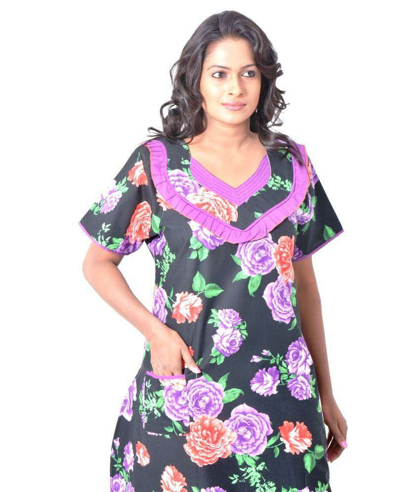 2c14460f5b Buy Pommys Purple Cotton Nighty Online at Best Prices in India ...