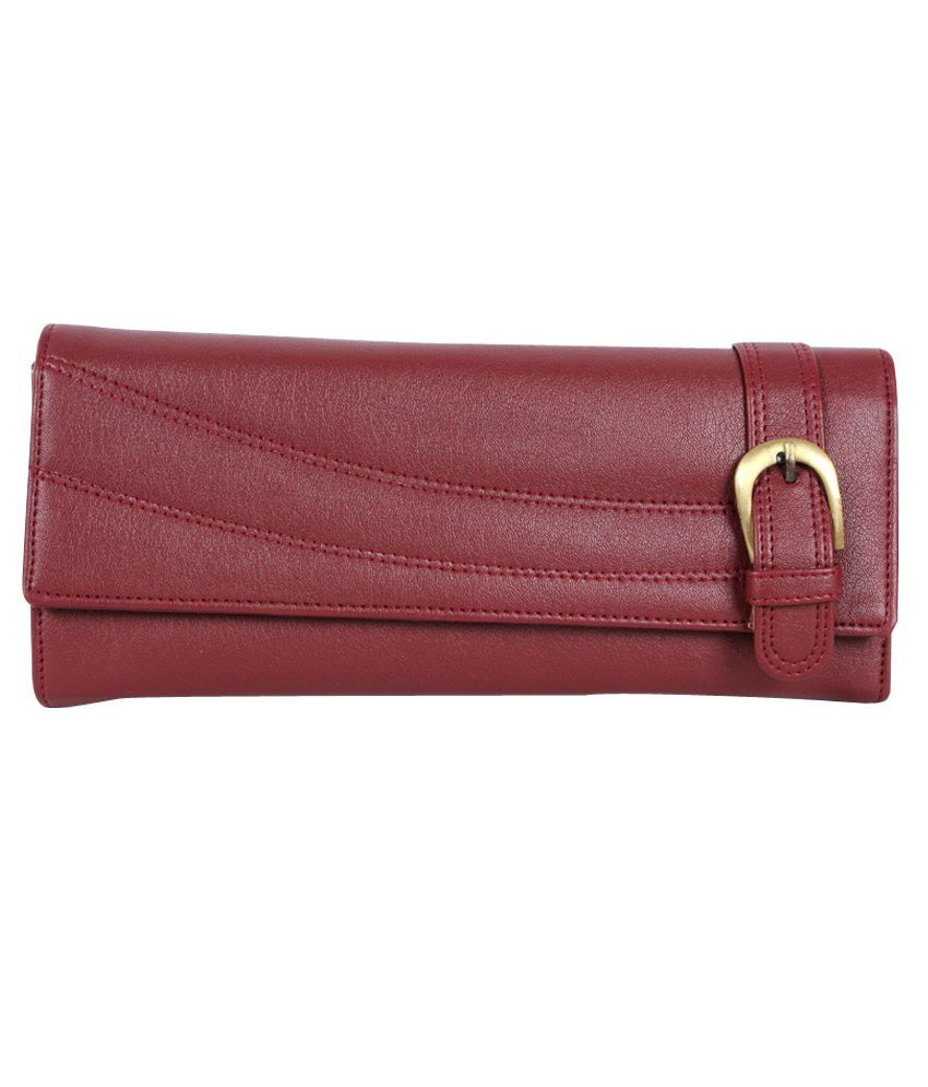 Hysty Maroon Leather Formal Wallet For Women