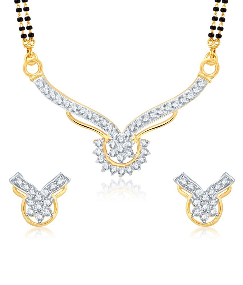 Vk Jewels Gold And Rhodium Plated Mangalsutra Pendant With Earrings.