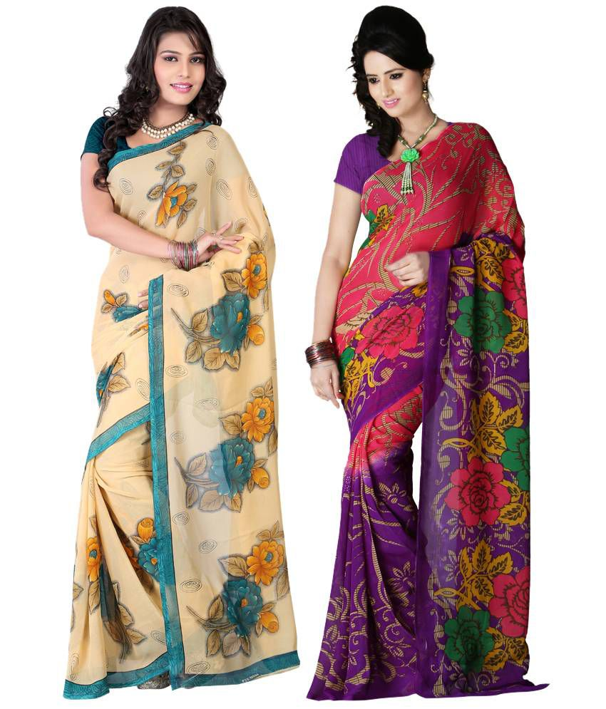 Bunny Sarees Stunning Multi Colour Faux Georgette Pack Of 2 Sarees