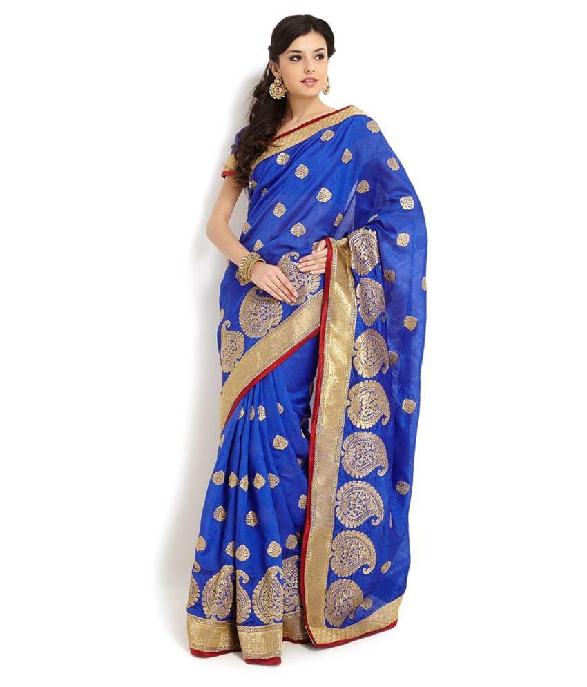Soch Blue Embroidered Silk Saree Buy Soch Blue Embroidered Silk