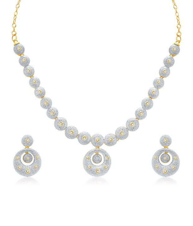 Vk Jewels Circle Gold And Rhodium Plated Necklace With Earrrings