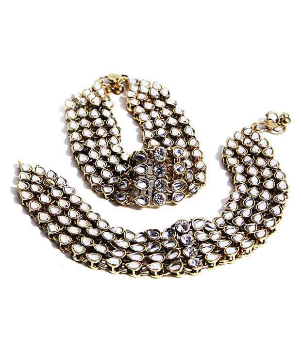 Aradhyaa Jewel Arts Gold Plated Kundan Anklets
