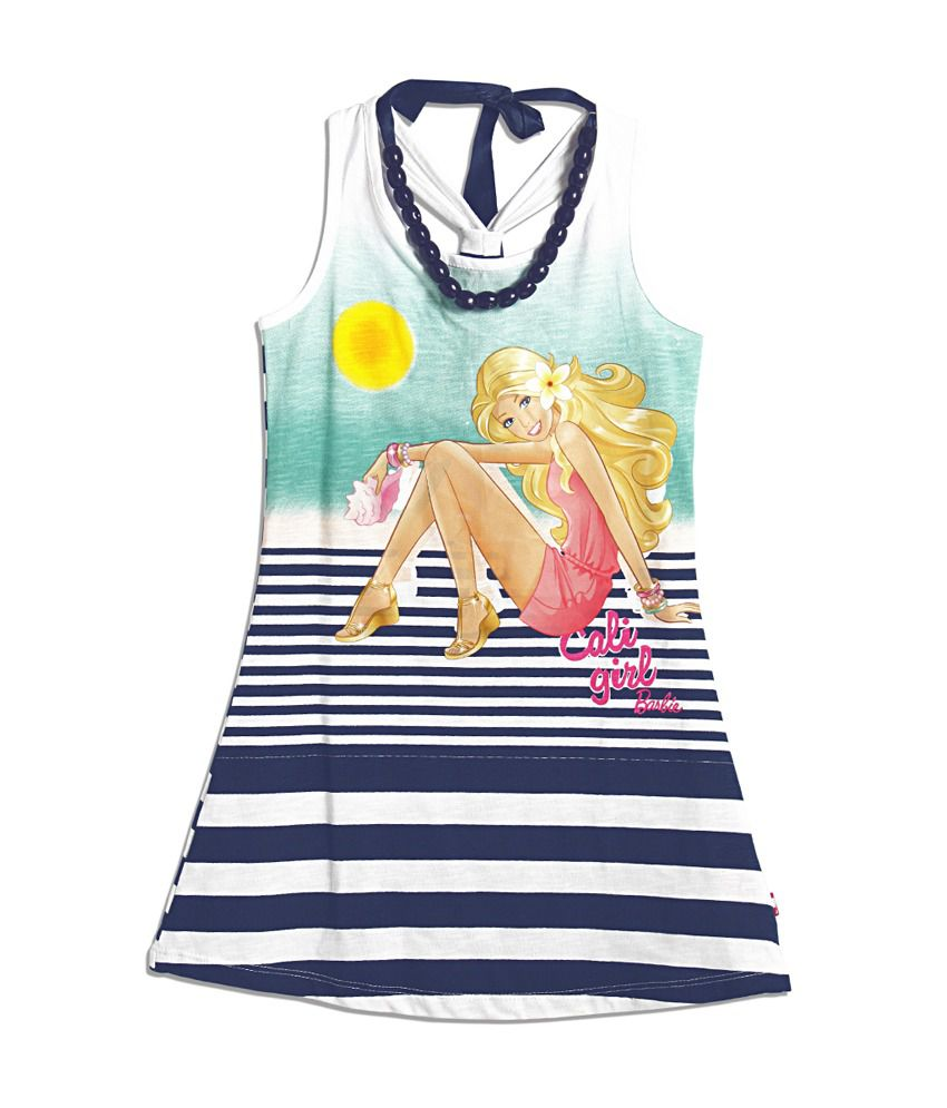 Barbie Barbie Multi Colored Racer Back Panel Print Dress For Kids (Multicolor)