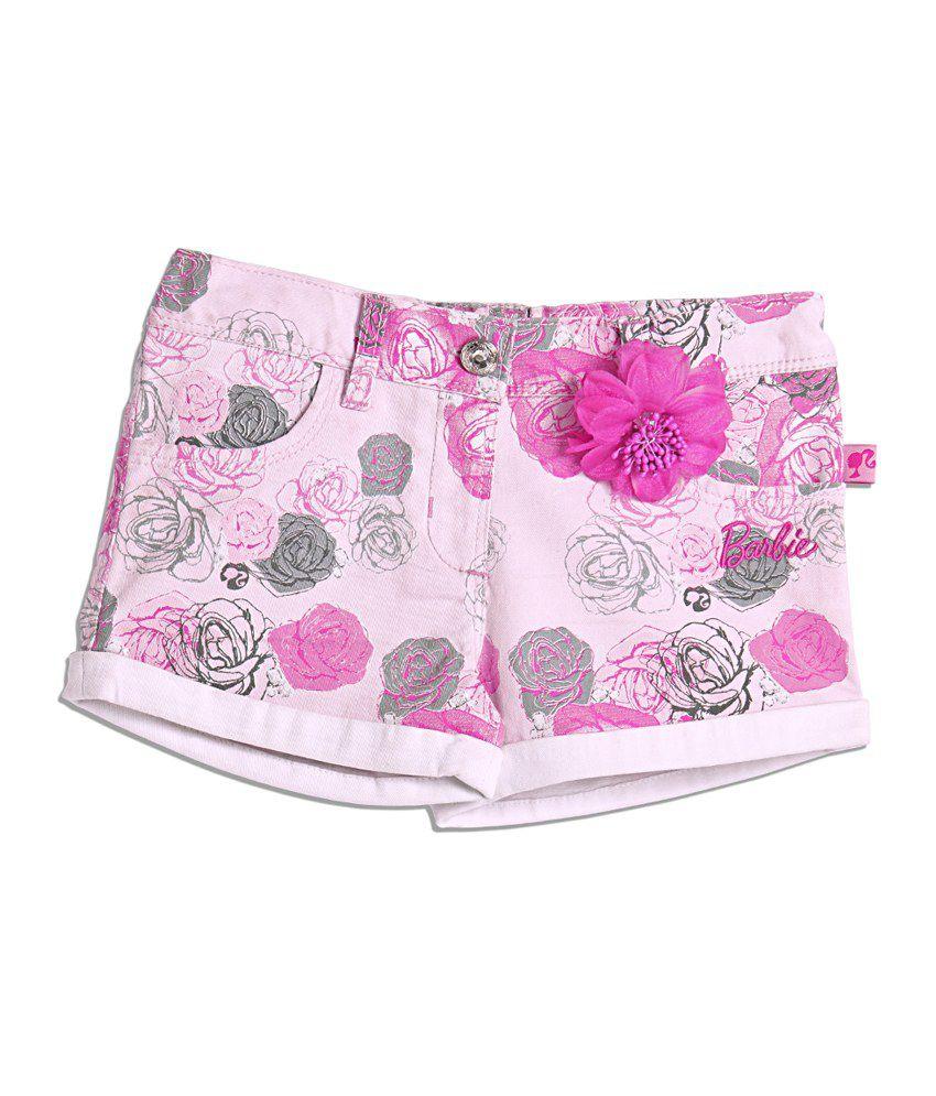 Barbie Pink Floral Printed W Turn Up Hem Finish Shorts For Kids
