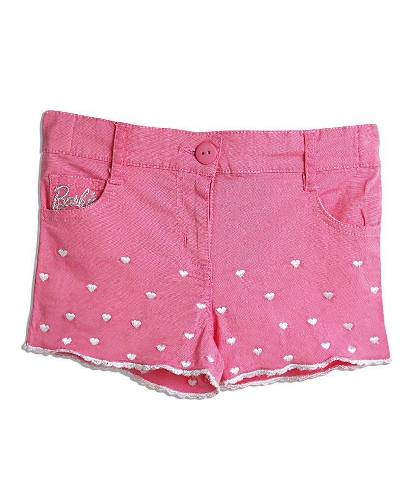 Barbie Pink Shorts Embroidared And Cutwork Finish