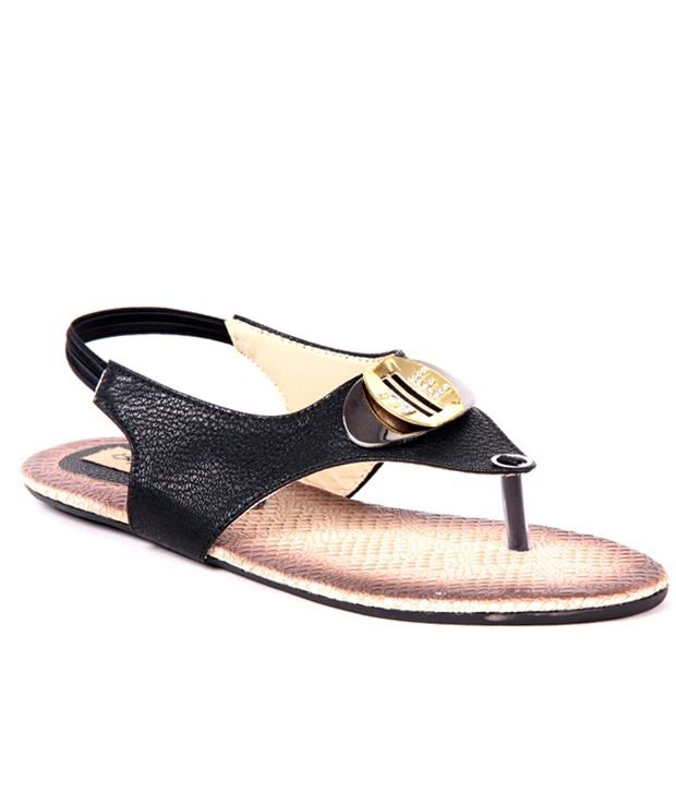 Big Buckles Black Sandal