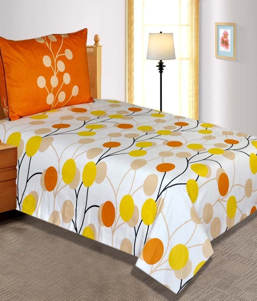 Salona Bichona White & Yellow Abstract Cotton Single Bedsheet with 1