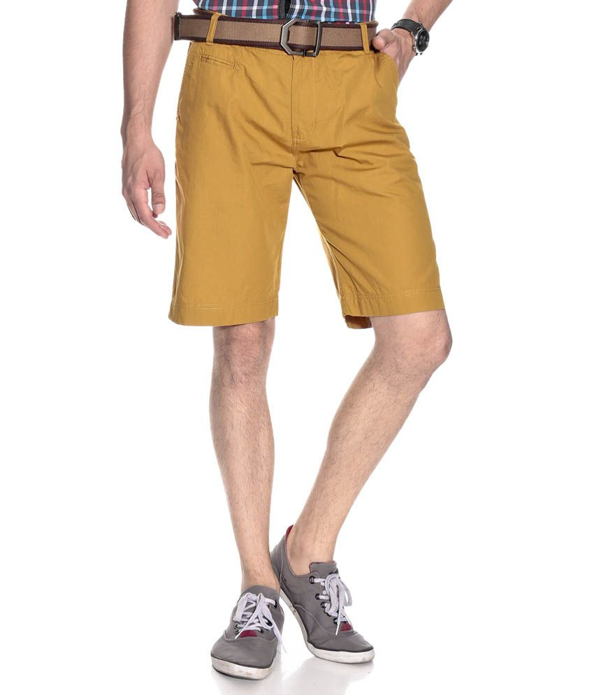Silver Streak Khaki Cotton Solids Shorts
