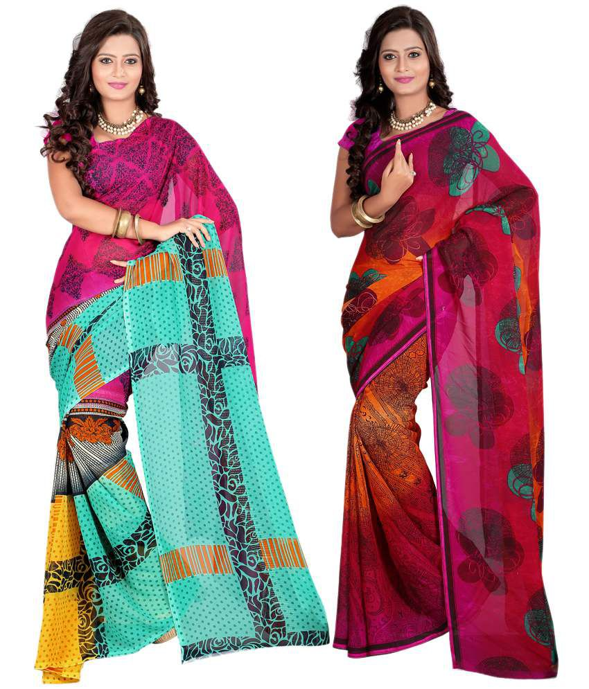 Ansu Fashion Multi Printed Faux Georgette SareePack Of 2