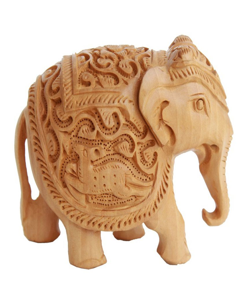 Crafts Gallery Wooden Elephant Statue Animal Carving Sculpture Handmade Figurine Home Decor, 3 Inch