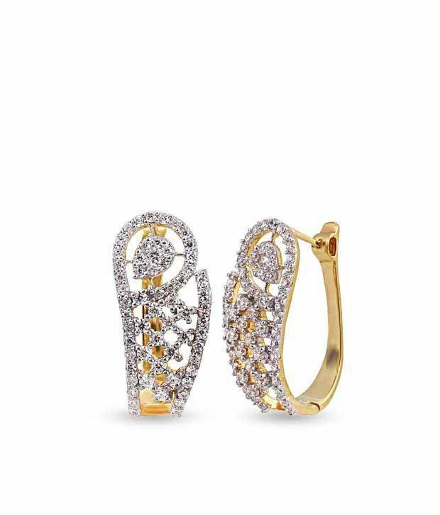 Shashvat Jewels 14KT Little Curve Diamond Hoop Earrings