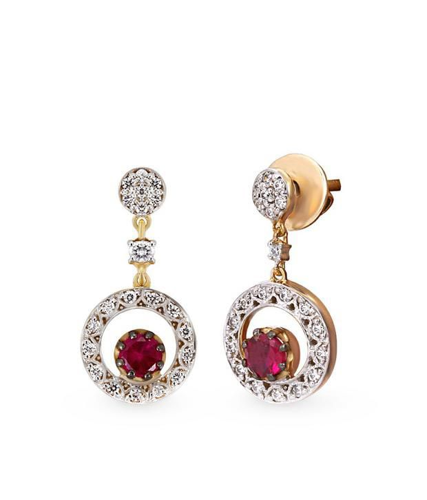 Shashvat Jewels 18KT The Keeva Red Ruby Earrings