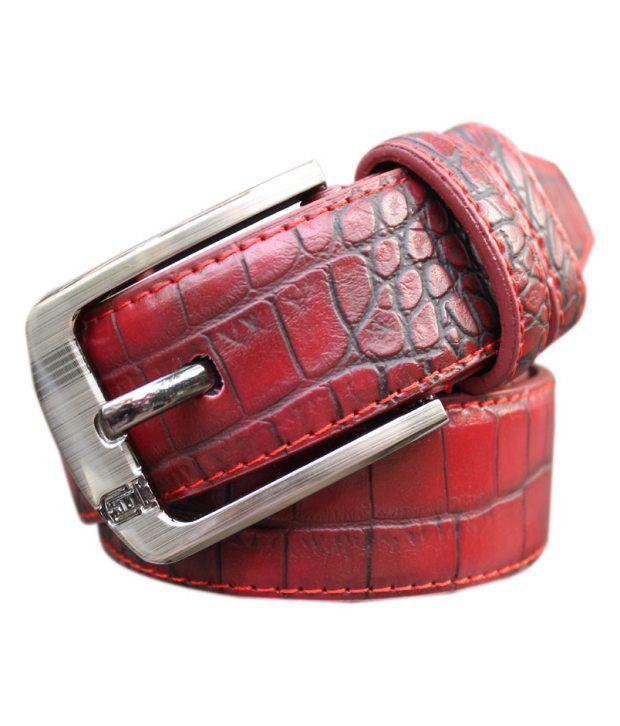 WINSOME DEAL Red Formal Single Belt ForMen No