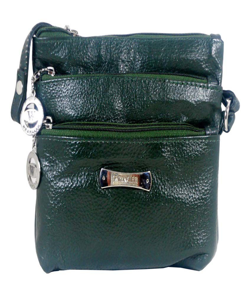 Wrangler Leather Green Sling Bag For Girls - Buy Wrangler Leather ...