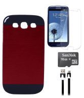 Axes Metalback Case Cover For Samsung Galaxy Galaxy S 3 I9300 Siii Red, Screen Guard, Data Cable, 16Gb Memory Card
