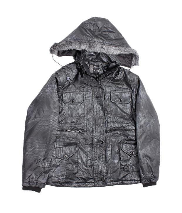 Okane Black Hooded Jacket For Kids