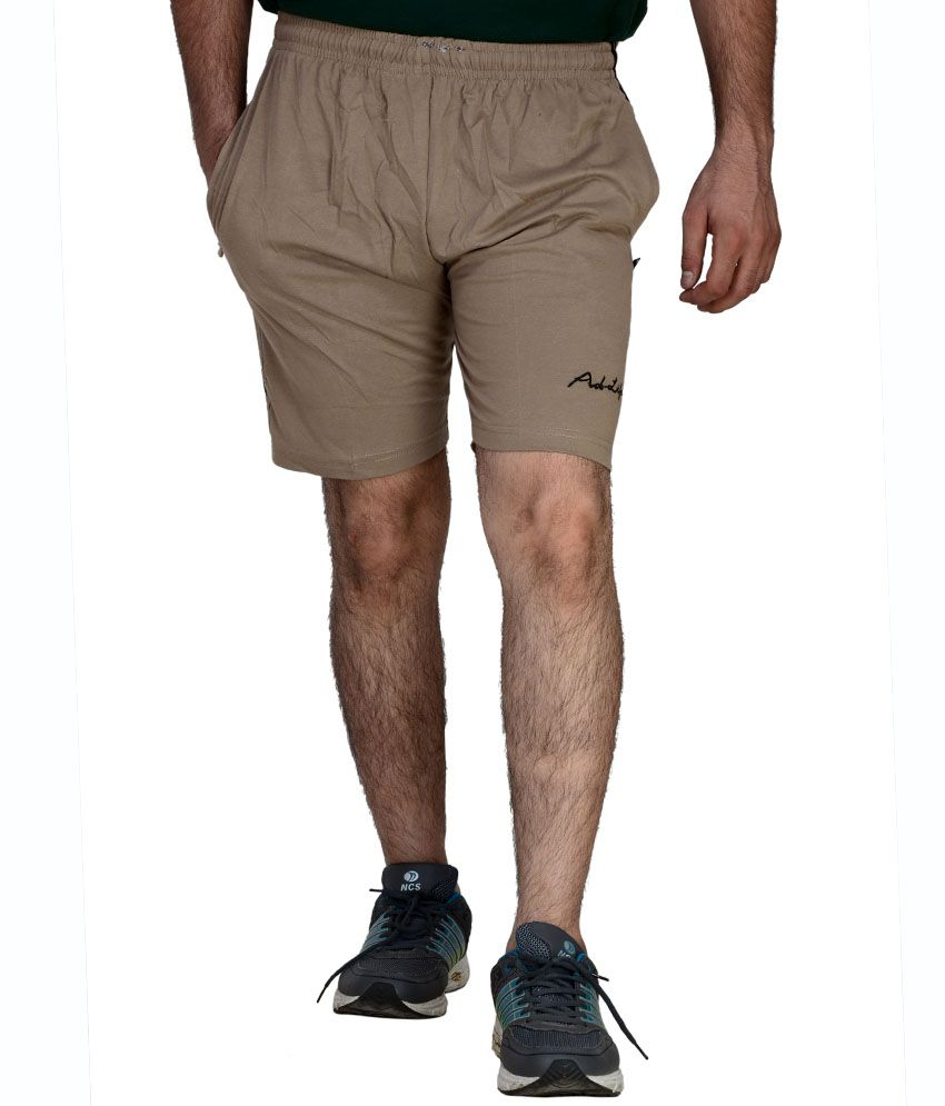 Ad-Life Brown Cotton Solids Shorts