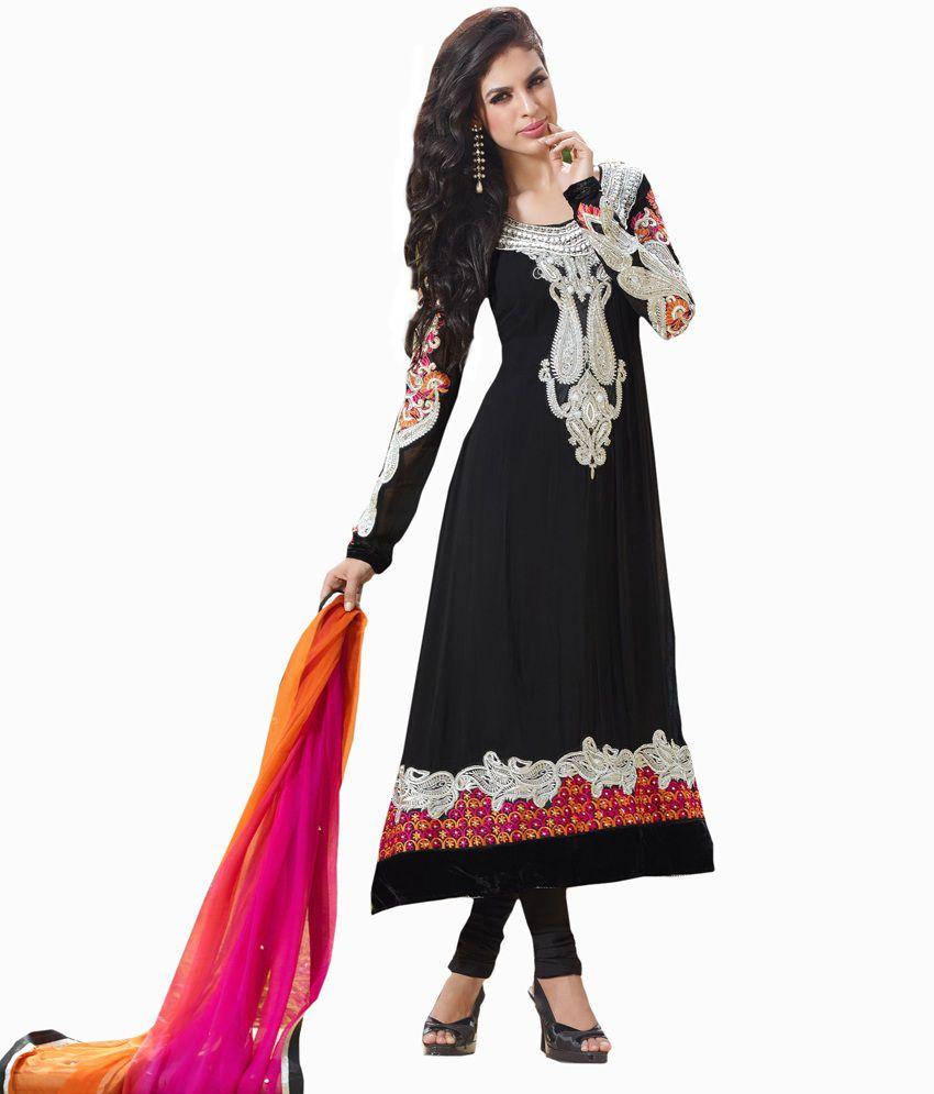 Admyrin Glamorous Black Coloured Anarkali Dress Material