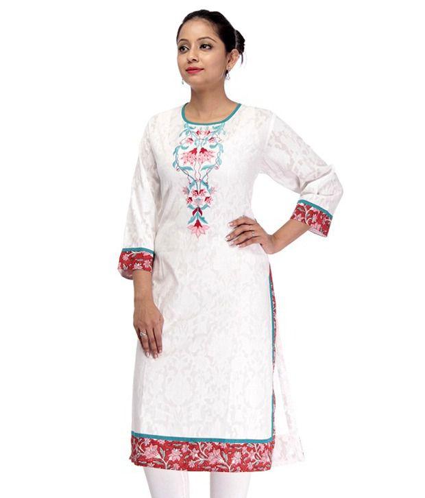 Cbazaar White Embroidered Cotton Long  Kurti