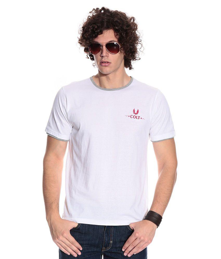 Colt White Cotton  T-Shirt