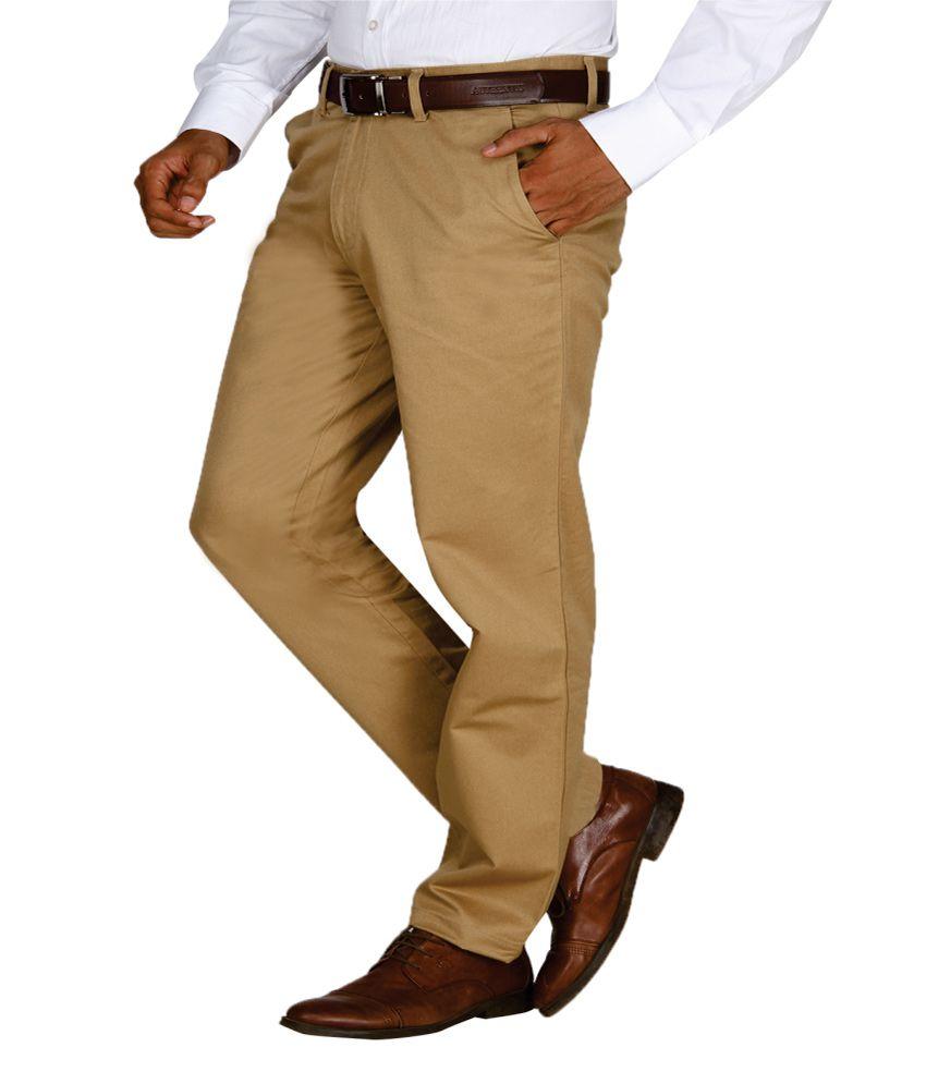 Momento Khaki Cotton Formal Trousers