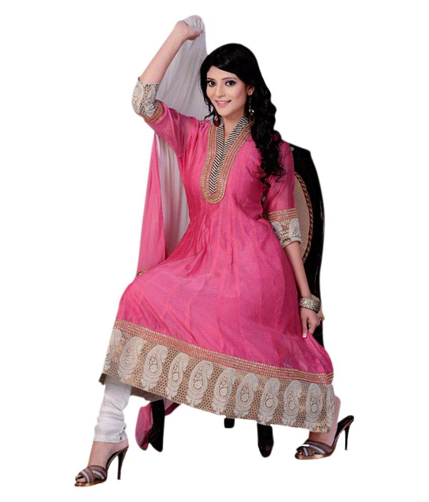 Pink Cotton Silk Anarkali Suit - Buy Pink Cotton Silk Anarkali ...