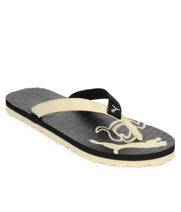 puma beige flip flops