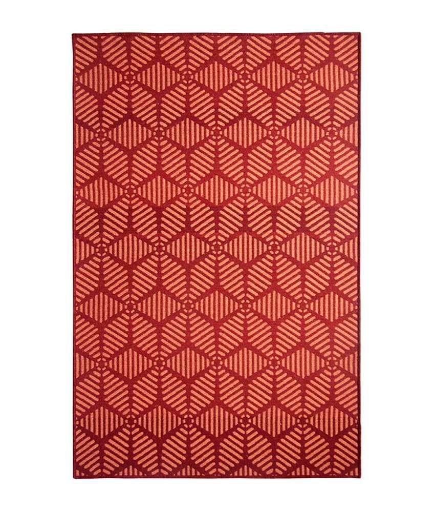 Riva carpets red contemporary maze area rug medium buy for Red area rugs contemporary
