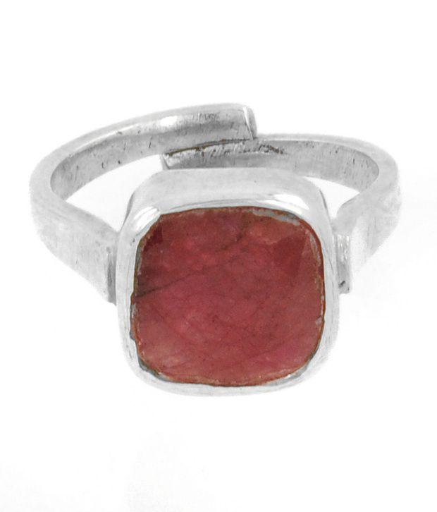 Barish Gems Adjustable 7.25 Ratti Octagonal Ruby Silver Ring