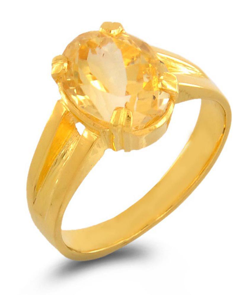 Barish Gems Sunhela Citrine Golden Topaz 5 Dhatu Ring