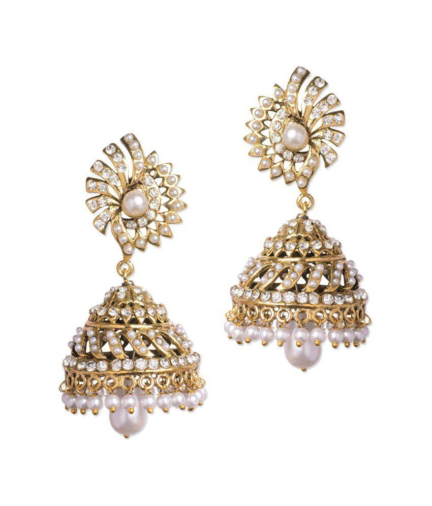 Bazarvilla White Pearls Designer Chandelier Earrings
