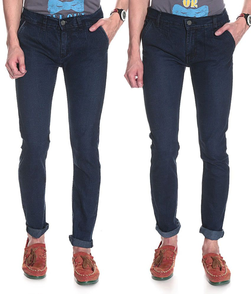 D.Coral Pack of 2 Blue Cotton Jeans