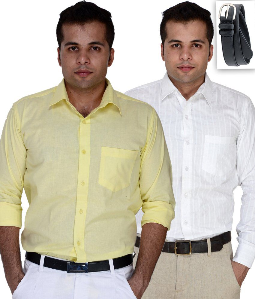 Daxx Classic Pack Of 2 Shirts With   Free Belt