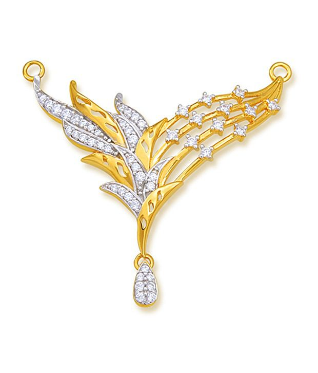 18 kt Yellow Gold with CZ Stones 5.18 Grams Tanmania Pendant By Ishtaa