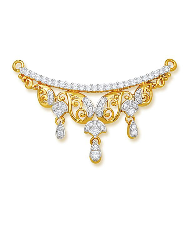 18 kt Yellow Gold with CZ Stones 4.55 Grams Tanmania Pendant By Ishtaa