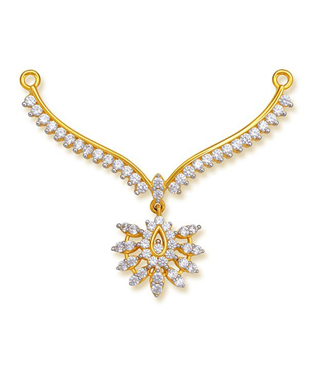 18 kt Yellow Gold with CZ Stones 4.23 Grams Tanmania Pendant By Ishtaa