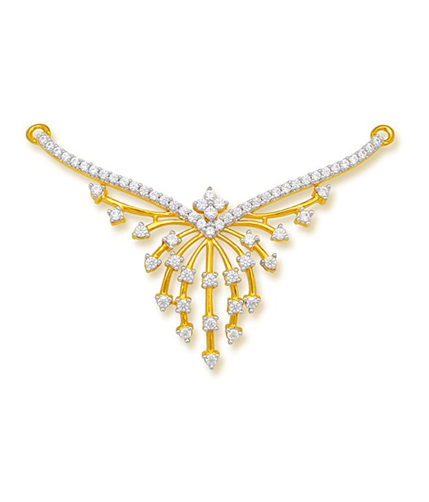 18 kt Yellow Gold with CZ Stones 3.64 Grams Tanmania Pendant By Ishtaa