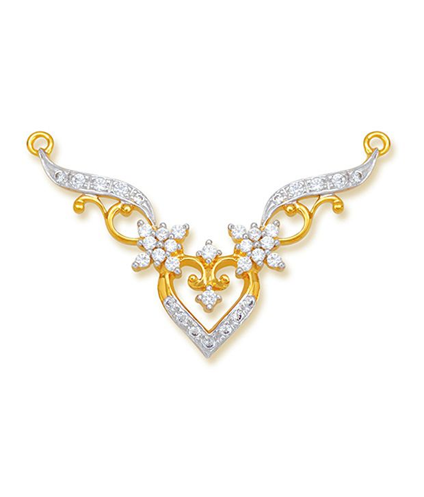 18 kt Yellow Gold with CZ Stones 3.77 Grams Tanmania Pendant By Ishtaa