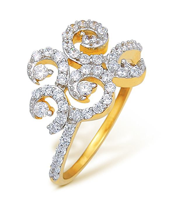 18k Hallmarked Yellow Gold with CZ Stones 3.54 Grams Rings By Ishtaa