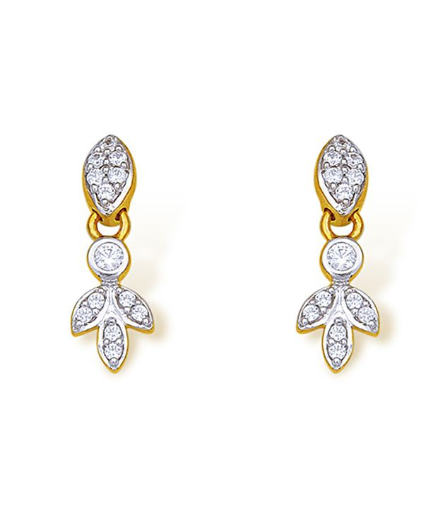 18kt Yellow Gold with CZ Stones 2.46 Grams Earrings By Ishtaa