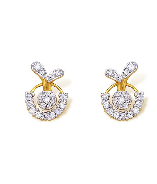 18kt Yellow Gold with CZ Stones 3.41 Grams Earrings By Ishtaa