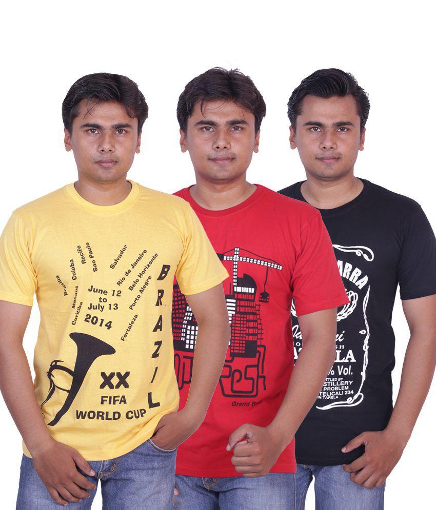 Grand Bear Pack of 3 Printed T-shirt For Men