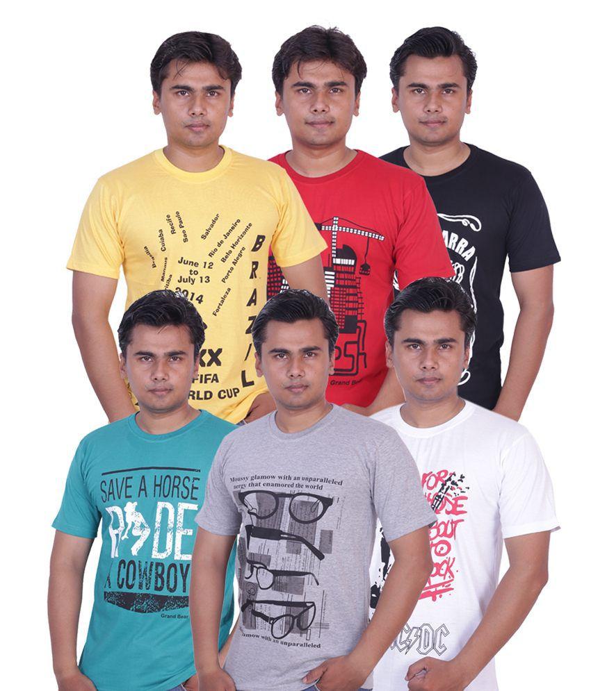 Grand Bear Pack of 6 Printed T-shirt For Men