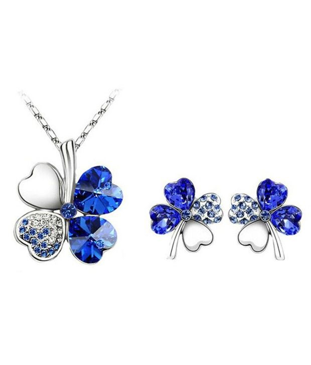 Shining Diva Fashion silver plated blue clover necklace set