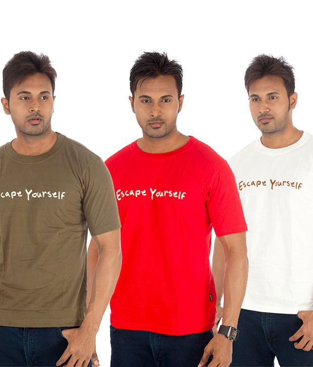 TSG Escape Multi Cotton    T-Shirt(Pack of 3)