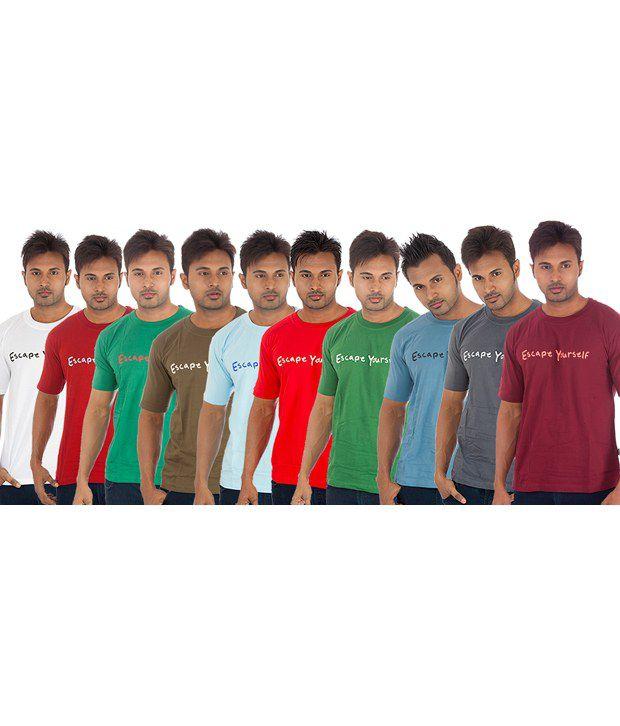 TSG Escape Multi Color T-Shirt -Pack of 10