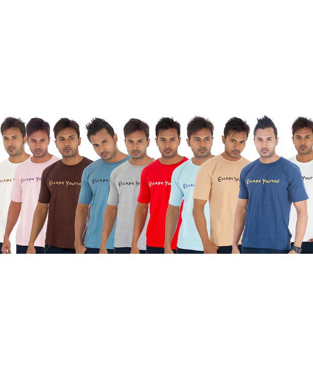TSG Escape Multi Color T-Shirt -Pack of 10
